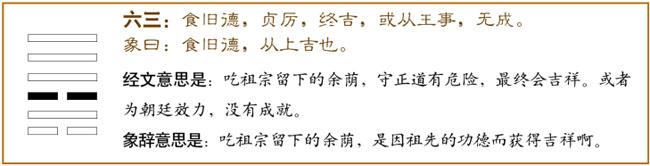 訟卦第三爻,爻辭:六三:食舊德,貞厲,終吉。 或從王事,無成。